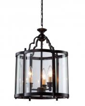 Artcraft AC1430BZ - Three Light Dark Bronze Crystal Clear Glass Framed Glass Foyer Hall Fixture