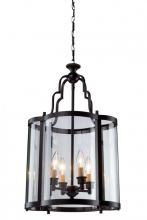 Artcraft AC1431BZ - Four Light Dark Bronze Crystal Clear Glass Framed Glass Foyer Hall Fixture