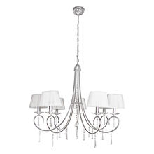 Eglo 89083A - 7X60W Chandelier w/ Chrome Finish, Crystals & White Shades
