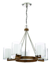 Craftmade 46425-PLNWB - Lark 5 Light Chandelier in Polished Nickel and Whiskey Barrel