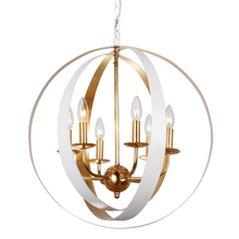 Crystorama 585-MT-GA - Crystorama Luna 6 Light White & Gold Sphere Large Chandelier