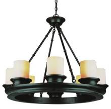 Trans Globe 3368 ROB - Eight Light Rubbed Oil Bronze Tea Stain, Heavy Candle Glass Candle Chandelier