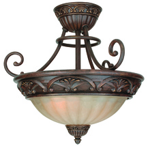 Jeremiah X5813-AG - Two Light Aged Bronze Tea-stained Glass Bowl Semi-Flush Mount