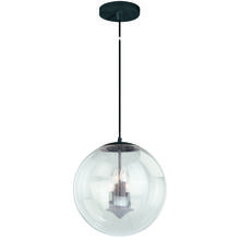 "Vaxcel International P0123 - 630 Series 15-3/4"" Pendant Black Iron Clear Seeded Glass"