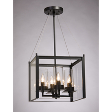 Steven & Chris SC654BK - Four Light Matte Black Clear Outer And Clear Candle Glass Framed Glass Foyer Hall Fixture