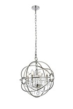 Elegant 1130D17PN/RC - 1130 Geneva Collection Pendant D:17in H:19.5in Lt:4 Polished nickel Finish (Royal Cut Crystals)