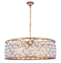 Elegant 1213D32GI/RC - 1213 Madison Collection Chandelier D:32in H:10.5in Lt:8 Golden Iron Finish (Royal Cut Crystals)
