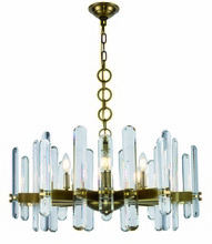 Elegant 1530D30BB/RC - 1530 Lincoln Collection Chandelier D:30in H:17in Lt:10 Burnished Brass Finish (Royal Cut Crystals)