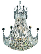 Elegant 8949D20C/RC - 8949 Corona Collection Hanging Fixture D20in H28in Lt:9 Chrome Finish (Royal Cut Crystal)