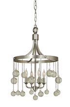Framburg 4764 SP/PN - 4-Light Satin Pewter/Polished Nickel Falling Stars Chandelier