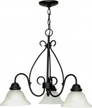 "Nuvo 60/378 - Castillo - 3 Light - 26"" - Chandelier - with Alabaster Swirl Glass"